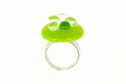 Les Poulettes Jewels - Ring Glass and Sterling Silver-Green Granny Bubbles