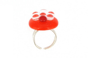 Les Poulettes Jewels - Ring Glass and Sterling Silver-Orange Bubbles