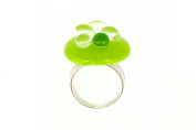 Les Poulettes Jewels - Large Ring Glass and Sterling Silver- Green Bubbles