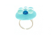 Les Poulettes Jewels - Ring Glass and Sterling Silver-Large Blue Sky Bubbles