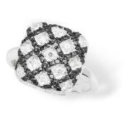 Sterling Silver Cubic Zirconia Rings S/S BLACK & WHITE C/Z SQUARE RING