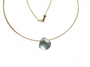 Gemshine - Necklace - Pendant - 14k Gold plated - Blue Aquamarine Quartz - Faceted Teardrop