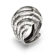Sterling Silver Ruthenium-plated Diamond-cut Adjustable Ring - JewelryWeb