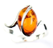 Lovely Baltic Amber & 925 Sterling Silver Designer Ring GL477A