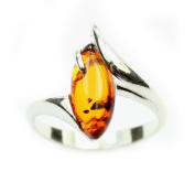 Lovely Baltic Amber & 925 Sterling Silver Designer Ring GL413A
