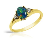 Ladies Silver Gold Plated Triplet Opal and Diamond Solitaire Ring- Size P