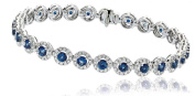 7.55CT Certified G/VS2 Blue Sapphire Centre with Round Brilliant Cut Halo Diamond Bracelet in 18K White Gold