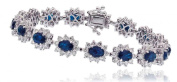 15.50CT Certified G/VS2 Blue Sapphire Oval Shape Centre with Round Brilliant Cut Claw Set Halo Diamond Bracelet in 18K White Gold
