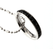 Princess 3mm Eternity Black CZ stone Band Stainless Steel