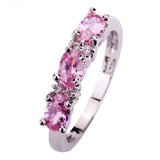 Yazilind Women's Ring with Oval Cut Pink White Sapphire Gemstone Silver Ring Size S Christmas Gift Wedding Party
