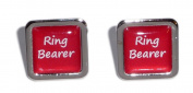 Ring Bearer Red Square Wedding Cufflinks.