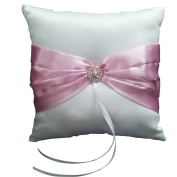 Wedding Ceremony White Satin Ring Pillow Cushion---Pink Ribbon & Diamante Decor