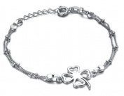 bigsoho Lucky four-leaf Clover Pendant White Gold Plated Adjustable Fashion Foot Chain Girls/Women Anklet Bracelet