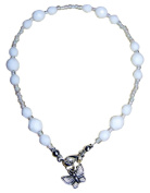 ~ PURE WHITE~ CRYSTAL BEADED ANKLE CHAIN ANKLET 24cm or any size.....!! FREE UK FIRST CLASS POSTAGE !!.....