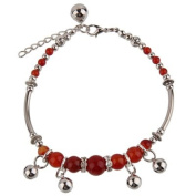 Handmade fashion Anklet Ankle Bracelet by BodyTrend © - small bells and red agate stones