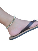 Ploy! Natural White Freshwater Pearl Brass Anklet Waxed Cotton Cord Handmade AK4