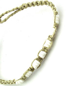 Jewellery Of The Planet Hawaiian Hand-Woven White Hemp And Puka Shell Surf Anklet