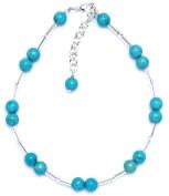 Amanti Venezia Silver Plated Turquoise Colour Bead Anklet of 29.5cm