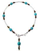 """~ NAVAJO ~ HANDCRAFTED TURQUOISE GEMSTONE ANKLE CHAIN ANKLET ANKLE BRACELET 10"""" 25CM"""