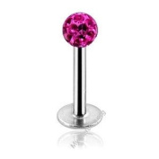 Pink. Crystal Internally Threaded Ferido Crystal Top Labret Monroe Lip Bar