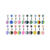 10 x Assorted Stripe UV Belly Bars (Stripe Design & Colour May Vary Slightly From Image) SUPPLIED IN A GIFT BAG