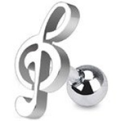 Treble Clef Music Note Cartilage / Tragus Upper Ear Earring Ring Bar