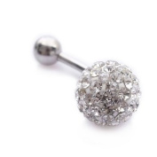 Beautiful high quality for a low price Crystal belly bar!!! - surgical steel bar length 10MM - hand made with over 70. crystals - great bling bling this summer!! - top metal ball is 6MM, bottom ball 10MM.