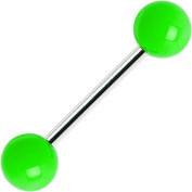Body Candy Green Neon Barbell Tongue Ring