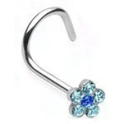 Very Pretty Crystal Blue Flower Sterling Silver Nose Screw Other Colours Available in our Pegasus Body Jewellery Amazon Shop