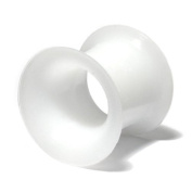 Silicone Eyelet Flesh Tunnel. 8mm gauge. White. Super-soft silicon eyelet. TDi Body Jewellery Sizing Card included.