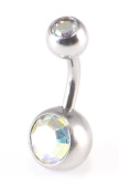 rainbow double gem belly bar body jewellery 14 gauge (1.6mm x 6mm) small bar