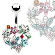 Beautiful Crystal Flower & Butterfly Belly Bar
