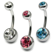 Double Jewelled body bar - Banana body jewellery - Navel Jewellery - Belly bar - Sizes 8mm. All 3 colours included.