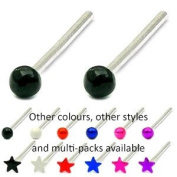 Genuine Sterling Silver Coloured Nose Studs | Pair of black ball Nose studs as shown in top of picture | 1.6mm ball | TDi-ST-CB1 | other sizes and styles available - search for TDi-ST