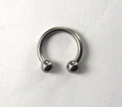 Horse Shoe Circular Ring Surgical Steel Size 1.2mm x 9mm with 3mm Balls