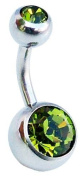 Jules Body Jewellery-Belly Bars-Olive Double Jewelled Surgical Steel Belly Bar-6mm Size