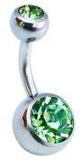 Jules Body Jewellery-Belly Bars-Light Green Double Jewelled Surgical Steel Belly Bar-6mm Size
