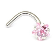 Steel Clawset Jewelled Star Nose Stud with Pink Star. Nose pin 0.8mm gauge. 316L surgical steel.
