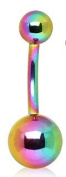 Rainbow Colour Titanium Anodized over 316L Surgical Steel Belly Bar Navel Button Ring