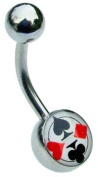 Jules Body Jewellery-Belly Bars-Card Suits Belly Bar-10mm Size
