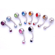 Surgical Stainless Steel 316L Pack of 5 Double Jewel Belly/Navel Bars 10mm