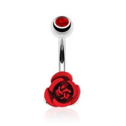 Azzire 316L Surgical Stainless Steel 10mm Cubic Zirconia Topped Red Coloured Metal Rose Flower Navel Bar