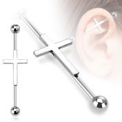 Piercing Boutique Surgical Steel Industrial Scaffold Piercing Bar With A crucifix Cross Logo 1.6mm Thick (14 gauge) x 38mm Bar Length One Piece Silver