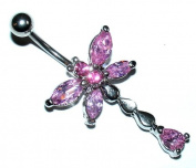 Pierced & Modified - Body Jewellery Navel Bars - Cute Dragonfly Belly Bar - Pink