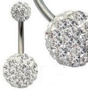 . Crystal Surgical Steel 316L Smooth Glitzy Ball Belly Bar / Navel Bar - 1.6mm gauge - 6mm length - Balls 8mm and 5mm - Add some bling to your life!
