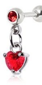 Red Heart Dangle Crystal Tragus / Cartilage Upper Ear Earring Bar