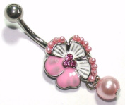 Belly Bars - Pierced & Modified - Body Jewellery - Tropical Flower Crystal Navel Bar - Pink