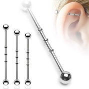 Industrial Scaffold piercing bars NOTCHED or BUMPS with Ball ends 35mm 316L Surgical Steel Barbell