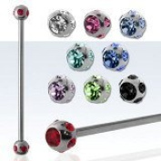 1 of Industrial Scaffold piercing bars 38mm (ROSE PINK ONLY)Multi gem 4 small gems and 1 large 316L surgical steel barbell