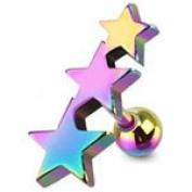 Rainbow Surgical Steel Emo Triple Star Upper ear cartilage tragus Helix earring
